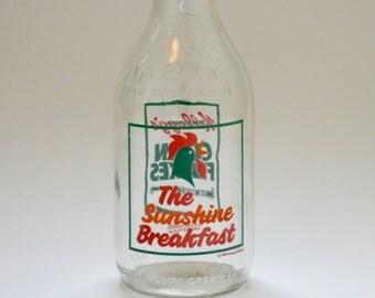 Vintage 1980's Milk Bottle Advertising Kellogg's Corn Flakes