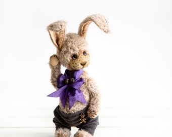 Artist Teddy bunny Grey - Collectible Teddy rabbit - OOAK stuffed animal - Perfect keepsake gift