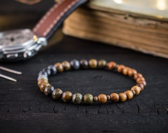 6mm - Picasso stone & sandalwood beaded stretchy bracelet, mens bracelet, mens bracelet, wood beaded bracelet, wood bracelet