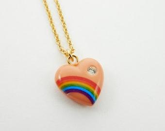 Peach Rainbow Heart Necklace