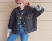 Oversized Washed Out Black Denim Jean Moto Jacket // Women's size XXL