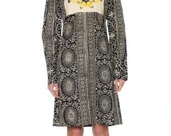 Ethnic 1960s Black And White Printed Dress Size: 4