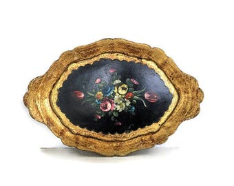 Small Florentine Tray with Toleware Flowers. Black and Gold Serving Tray Made in Italy Hand Painted