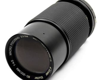 Olympus OM Mount 80-200mm SLR Camera Zoom Lens f/4.5 Vintage Vivitar Model