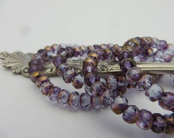ALEXANDRITE  Purple  Blue  Czech Glass Rondelles 5X3mm with Bronze  (  30 Beads Full Strand ) Always LOW Shipping!
