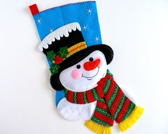 Christmas Stocking Bucilla Finished Stocking Personalized Family Childs Stocking Felt Christmas Stocking Snowman Stocking Gift for Him Her