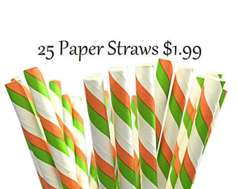 Green and Orange Duo Striped Paper Straws
