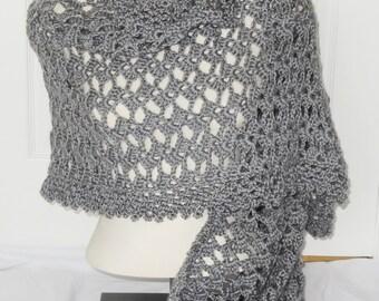 Sale Crochet Wrap - 25% Off - Crochet Smokey Grey Lace Wrap - Ready to Ship
