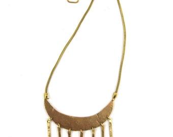 L U Z >> brass crescent necklace / moon necklace / fringe necklace / bohemian jewelry / festival jewelry / brass jewelry / modern bohemian