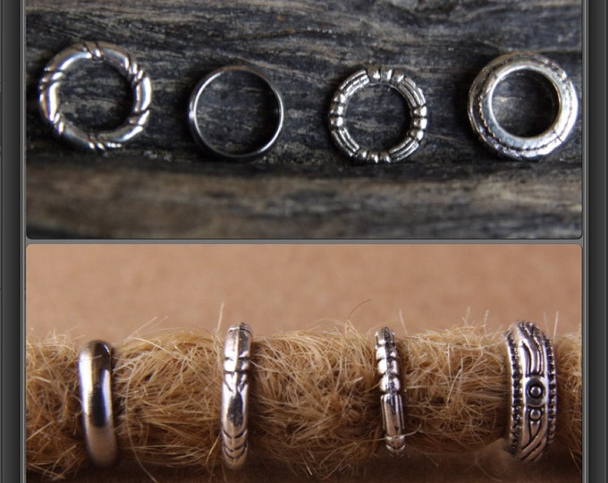 12 Dread Rings Mix 7/8mm Hole (9/32 - 5/16 Inch) Dreadlock Bead Hair Tibetan /Stainless Steel