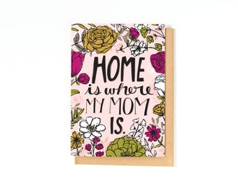 Mother's Day Card - Mom Birthday Card - Miss You Mom - Home Is Where My Mom Is - Thank You Card - Just Because Card - Greeting Card