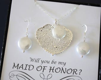Will you be my Bridesmaid Necklace, Aspen Leaf Necklace, Pearl Necklace & Earring Set, Pearl Necklace, Thank You Card, Gold Leaf Necklace