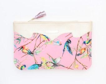 Bird print clutch bag. Leather handbag. Wedding clutch. Evening clutch. Bridesmaid clutch. Statement purse. Pink evening clutch /SUMMER 17
