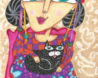 Woman And Cat, Black Cat, Cat Lover, Funny Cat Picture, Cat Art, Cat Decor, Whimsical Woman Art, Art For Women, Warm Lap by Paula DiLeo_316