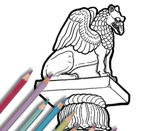 """Printable coloring page: """"Pillar Griffin"""" Instant download - PDF - Indian Pillar of Ashoka griffin"""
