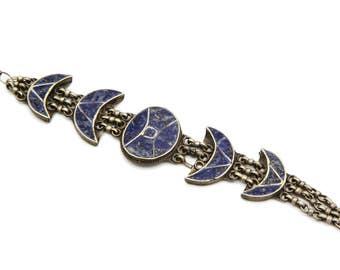 Sodalite Stone Inlay Bracelet, Silver Tone Metal, Moon Jewelry, Panel Link Gemstone Bracelet, Large Rustic Bracelet, Blue Stone Bracelet