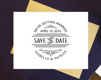 Save the Date Stamp Art Deco Wedding Gatsby Wedding - Custom Save the Date Self Inking Stamp OR Traditional Wooden Rubber Stamp