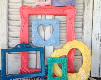 Eclectic Grouping of Open Wall Frames / 7 Pc Empty Wall Frames / Wall Gallery Frames / Ornate Frame Wall Decor