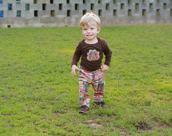 Thanksgiving Outfit for Baby Boy - Turkey Shirt for Boys - Thanksgiving Shirt - Turkey Outfit for Baby Boy - Madras Plaid Pants - Fall Boy