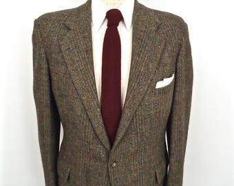 Ralph Lauren Tweed Sport Coat / Polo RL for Saks gray brown herringbone wool suit jacket / men's medium-large