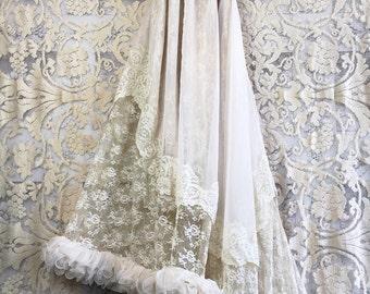 asymmetrical taupe ecru & cream ruffled lace mermaid wedding dress with train by mermaid miss Kristin