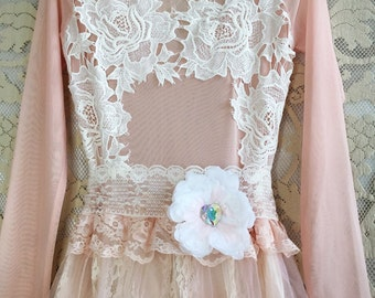 blush & cream illusion bodice tulle lace boho prom dress by mermaid miss kristin
