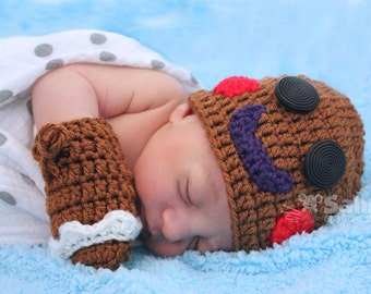 PATTERN Instant Download Gingerbread Man Hat and Mittens Newborn to Toddler Crochet Christmas Photo Prop Baby Shower Gift Holiday