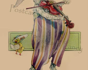 Fun EASTER BUNNY Playing Violin, Instant DIGITAL Download, Printable Vintage Rabbit Postcard