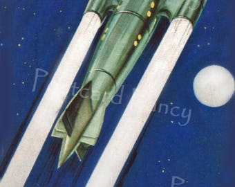 Science Fiction BYRRH  Postcard, ROCKET of the Future Illustrated in 1920, Instant DIGITAL Download, Printable Space Travel Image