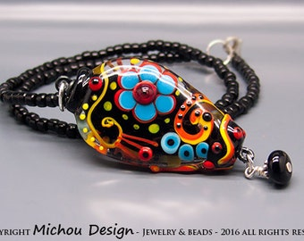 Michou Pascale Anderson -  Night Whispers //Necklace // Lampwork Pendant //Sterling Silver, Toho glass seeds