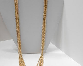 "Vintage 27"" Six Strands Gold Tone Chains Necklace (8238) Six Strands"