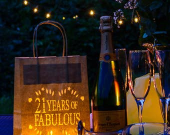 21 years of fabulous Birthday Lantern Bags, perfect party decoration or table centrepiece