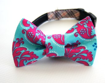 Pink and Aqua Damask Dog Bow Tie Collar Attachment