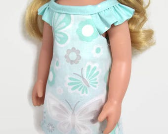 Mint Green and Gray Summer Nightgown - Made to Fit 14.5 Inch Dolls Like Wellie Wisher Doll Clothes