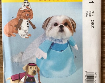 UNCUT McCall's 7211 Pet Dog Clothes Sewing Pattern One Size Halloween Costume, Elsa, Olaf, Anna, Disney Frozen Characters