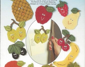 Fun Fruit Fridgies Plastic Canvas Pattern Book, Fruit Magnets, Apple, Strawberry, Pear, Banana, Grapes, Pineapple, Cherries, Kitchen Decor