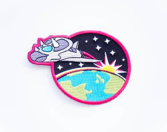 Triceratops Spaceship dinosaur patch. designosaur space patch. shuttle woven patch. embroidered patch. dinosaur flair. NASA dinosaur badge.