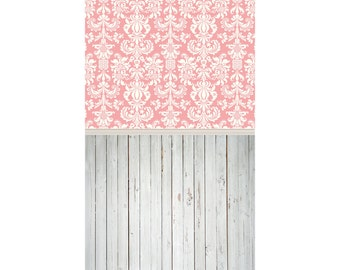 Ornate Pink Damask and Painted White Wood - Vinyl Photography  Backdrop Photo Prop