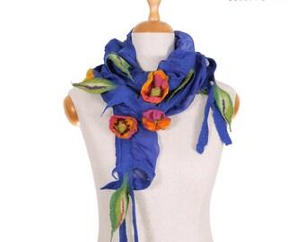 SALE!!!  ultramarine felted shawl, nuno felted necklace, gorget, elegant handmade collar, artistic neckwear with colorful flowers
