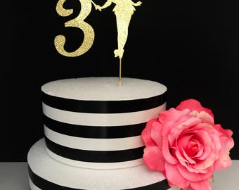 Gold- fairy Cake Topper- Centerpiece- tinkerbell cake topper- custom age cake topper- birthday cake topper