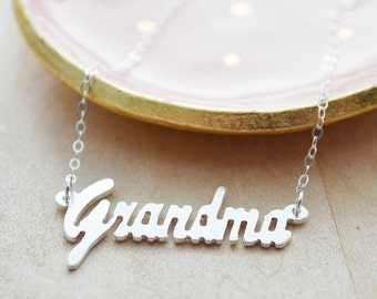 Sterling Silver Grandma Necklace - Grandma Laser Cut Out Necklace - Unique Name Necklace - Mommy Jewelry - Silver Christmas Gift for Her