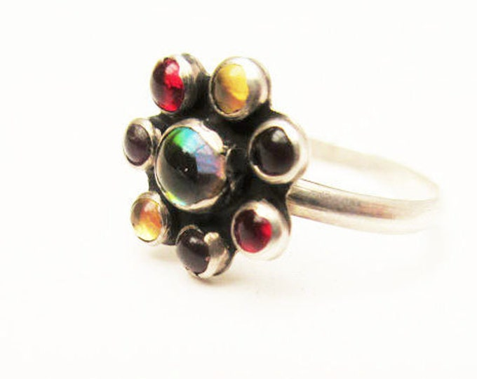 sterling Flower ring - colorful Art glass cabochons - size 8 1/2 - Mexico - sterling silver