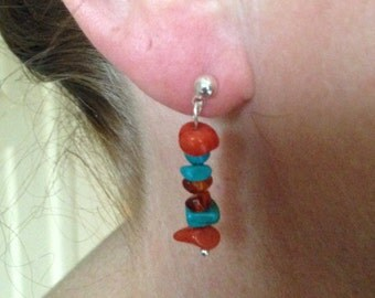 Delightful low-cost earring dangles with coral, turquoise, and amber