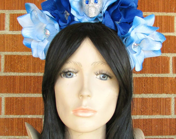 Flower Crown Headband, Blue and Silver Rose Skull Crown, Flower Crown, Floral Headpiece, Floral Crown, Day of the Dead Flower Crown