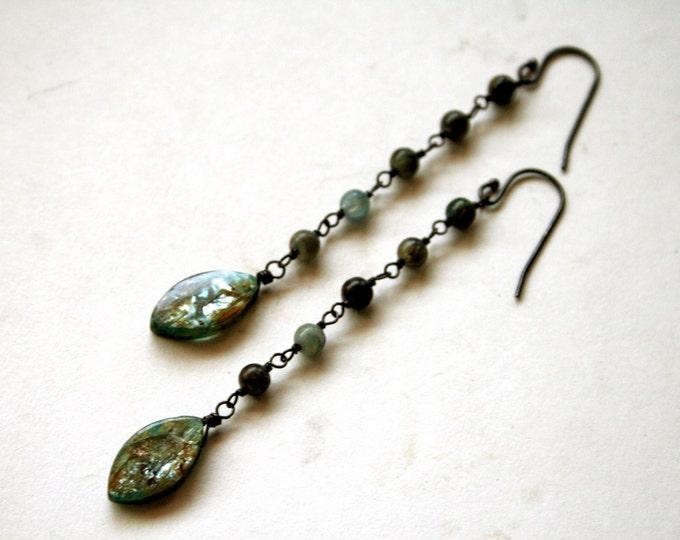 Kyanite Sterling Silver Drop Earrings // Blue Kyanite Dangle Earrings