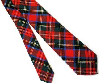 60s Red Tartan Tie, Red Plaid Wool Tie, Narrow Plaid Tie, Bright Red Plaid Necktie, Scottish Plaid Tie