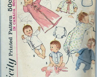 Vintage 1960's Simplicity 5163 Infants Layette In One Size Sewing Pattern Size Newborn UNCUT