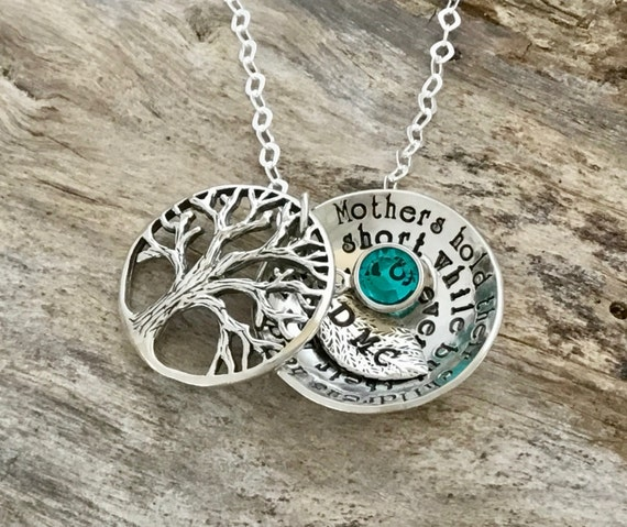 Grandma Sterling Silver Necklace Grandmother Family Tree Nana Grandchildren Birthstone Jewelry Grandkids Name Tree of Life Locket