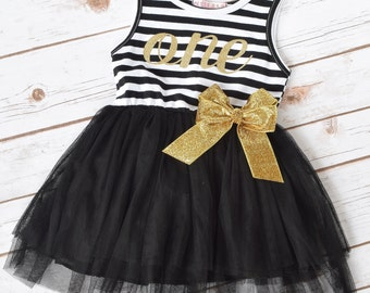Cake Smash Outfit Girl, Black and Gold Tutu, 1st Birthday Girl Outfit,  2nd Birthday Outfit Girl, Baby Girl 1st Birthday Outfit, Smash Cake