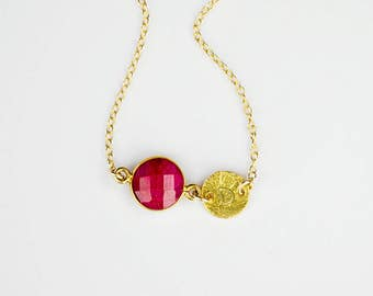 Mothers day gift for mom, Ruby Necklace, July Birthstone Necklace Initial Necklace Bridesmaid Necklace Birthday Gift Personalized Necklace